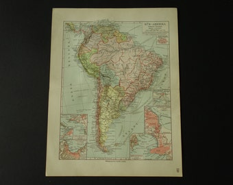 SOUTH AMERICA old map 1913 very detailed antique map of South America continent - original vintage maps Brazil Montevideo - 25x33c 10x13""