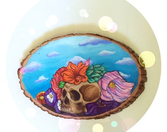 Floral Skull Still Life with Clouds on Wood