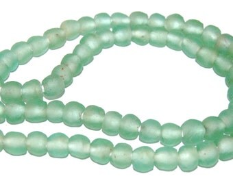 Recycled Glass Beads - light green Glass Beads 9mm - African Beads - Eco-Friendly-  Made in Ghana- green round beads - 20 Beads