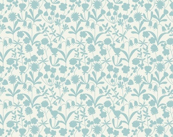 Lewis & Irene Patchwork Quilting Fabric Bluebell Wood A129.1 Duckegg floral silhouette