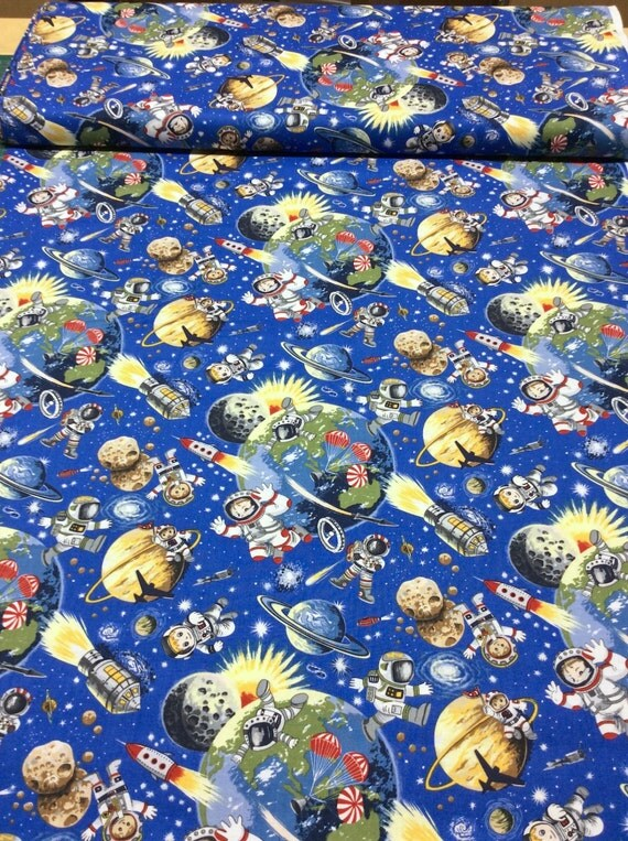 Patchwork quilting fabric nutex space odyssey 102 astronauts for Space fabric quilt