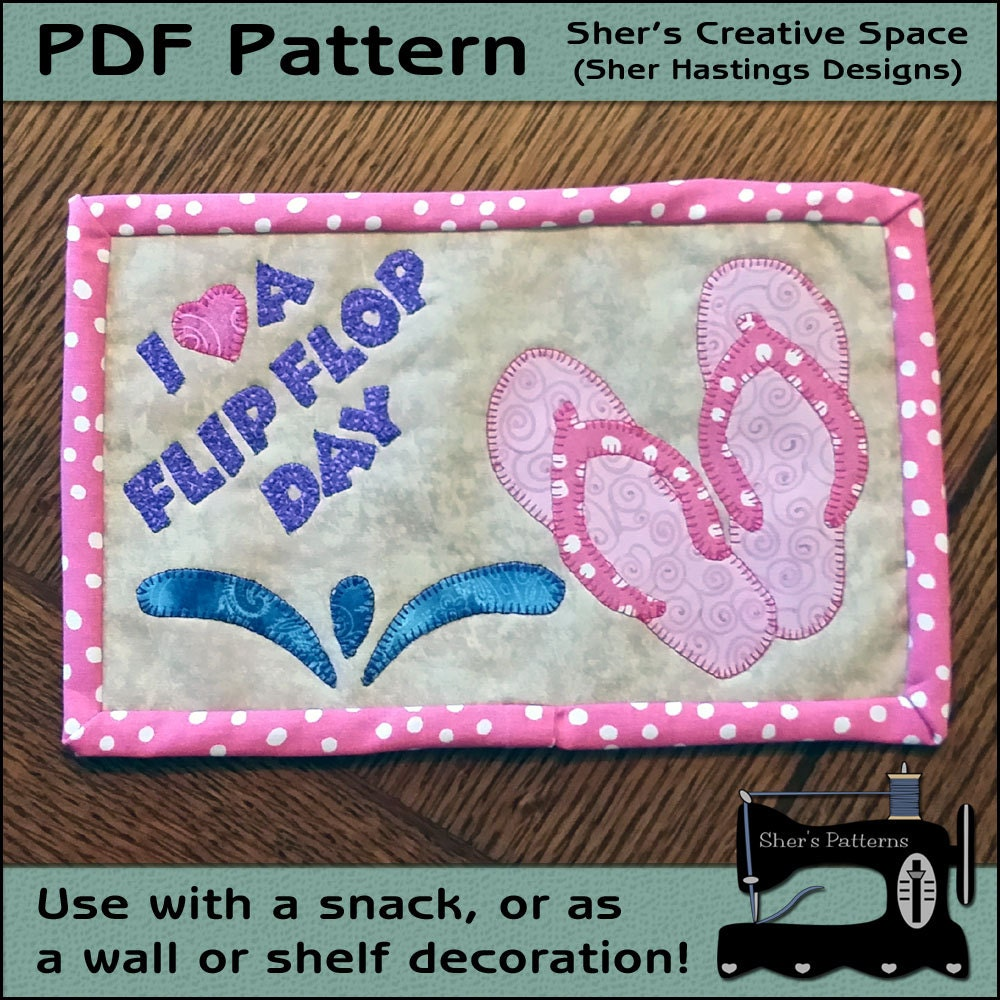 PDF Pattern For Flip Flop Mug Rug Beach Mug Rug Pattern