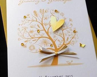Personalised Handmade Golden / 50th  Wedding Anniversary Heart Card