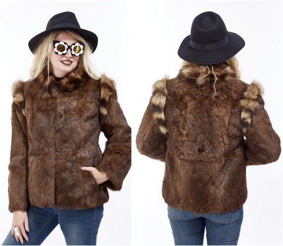 Vtg 70s 80s Genuine RACCOON and Brown RABBIT Fur Coat Cropped Jacket Glam Boho Disco Rocker Retro Mod Avant Garde Soft Furry Fuzzy Shaggy