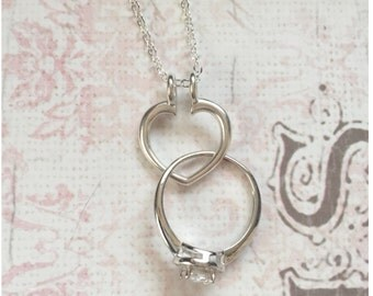 silver ring holder necklace open heart ring keeper necklace wedding ring holder necklace - Wedding Ring Necklace Holder