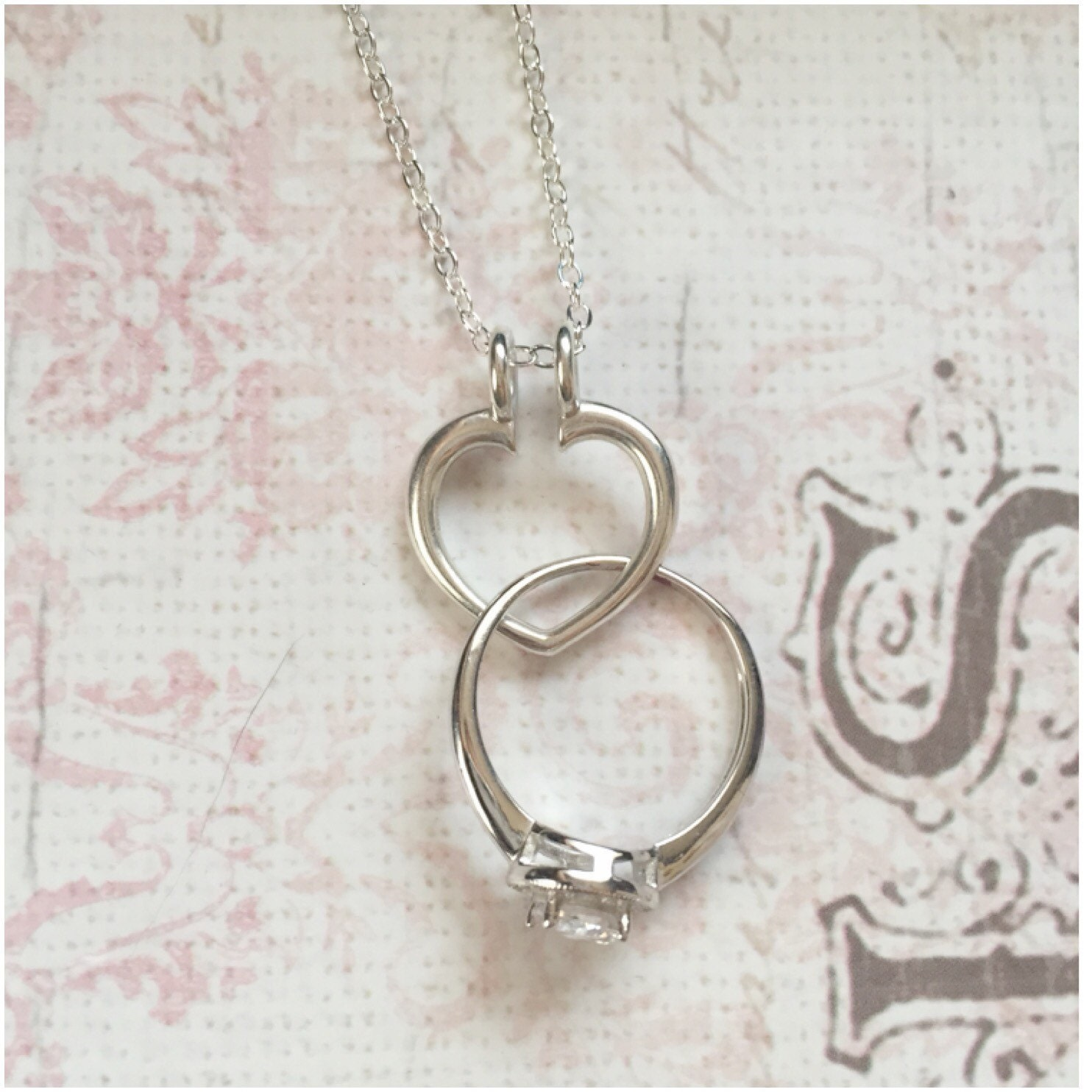 Silver Ring Holder Necklace Open Heart Ring Holder Necklace