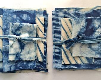 Linen Shibori Fabric Bundle, Indigo Shibori Sampler