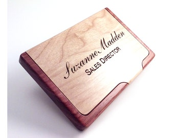 Engraved Wood Business Card Holder personalized with your name words or saying personalized gift