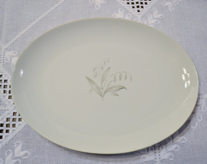 Vintage Kaysons Fine China Golden Rhapsody Oval Platter White Gray Floral Design Japan PanchosPorch