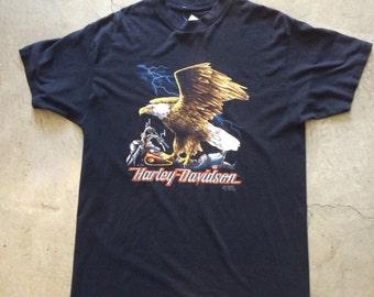 Vintage Harley-Davidson 1991 3D Emblem Pam Stern Graphic T-Shirt