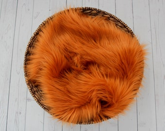 SALE - , Cuddly Rust Faux Fur Nest - Perfect Newborn Photography Prop - Plush Long Pile, Stuffer, Filler, Layering Halloween