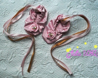 Baby Girl Pink and Gold Ballet Slippers,