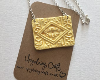 Ceramic Custard Cream Necklace