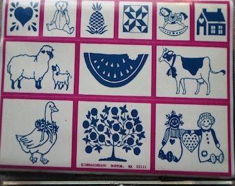 Country Farm Stamp Set of 11 In Snap Close Inkadinkado Container Rubber Stamps with Sheep, Rag Dolls, Cow, Fruit Tree and More
