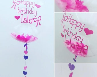 Personalised Feather Bubble Balloon In A Box
