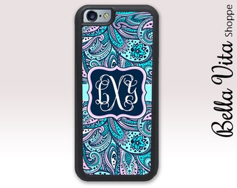 Blue Pink Paisley Monogram iPhone 6 Plus Case, Monogrammed iPhone 6 Plus Case, Monogram iPhone 6S Plus Case, Personalized iPhone Case 1239
