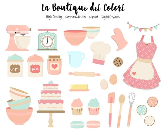 Pink and blue Baking Clipart Cute Digital Graphics PNG