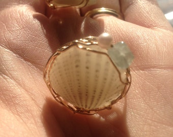 Mermaids Mystic Treasures ring 1 of 3 limited edition 18k gold filled OOAK