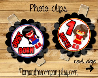 Baby Girl First year photo clip banner newborn to 12 months first birthday 12 month banner first year banner Superhero party RIBBON INCLD