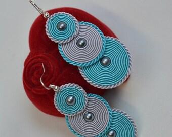 Grey- earrings soutache