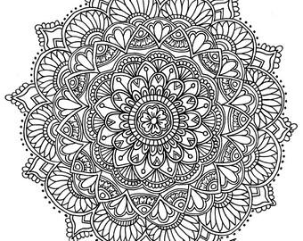 Floral Mandala 8.5x11 ink drawing, card-stock print