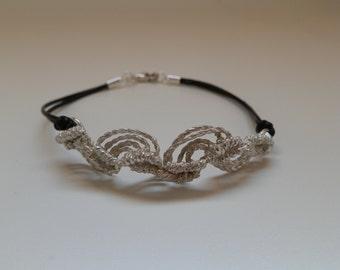 Macrame in silver bracelet