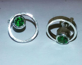 With green or pink cubic zirconia earrings