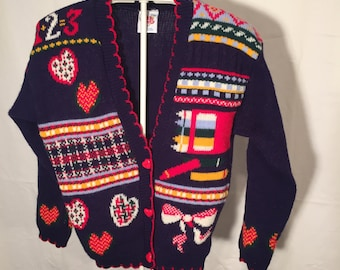 Vintage 1+2=3 Girls Large L 10 Novelty Knit Cardigan Sweater Back to School Navy with Pencils Hearts and Bows Made in USA