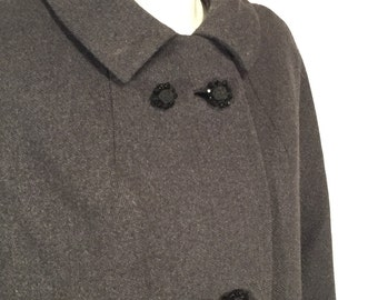 Vintage Black Basketweave Double Breasted Coat with Jet Bead Buttons 60s Sixties Plus Size 1X