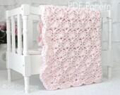 Crochet Baby Blanket Pattern - Viola - Crochet PATTERN #33 - Pink Color - Instant Download