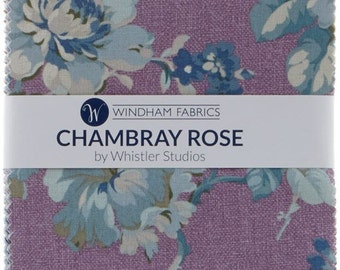 "Chambray Rose Charm Pack -  (19) 5"" X 5"" Squares- Cotton Quilt Fabric - Nancy Gere for Windham Fabrics - CHAMCP5 (W3427)"
