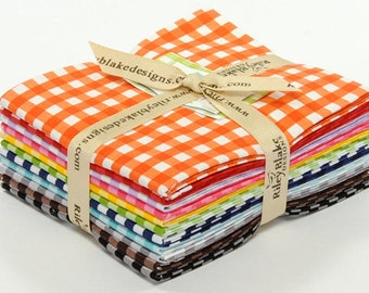 1/4 Inch Medium Gingham Fat Quarter Bundle - 11 Different Prints - Cotton Quilt Fabric - Riley Blake Designs - FQ-450-11 (W3237)