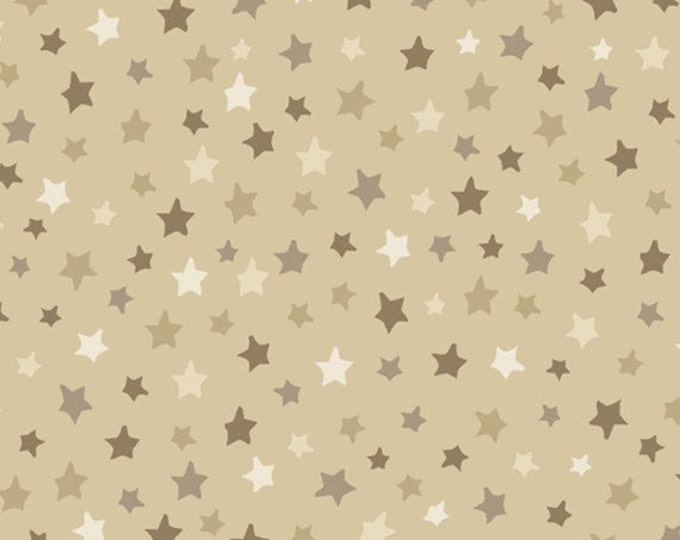 Half Yard Be Strong, Be Brave - Tonal Stars in Beige - Cotton Quilt Fabric - Homefront Girl - Quilting Treasures - 24084-E (W3167)