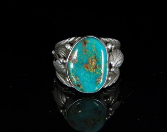 Sleeping Beauty Turquoise Ring Sterling Silver Handmade Size 13.0, R0449