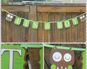 OWL BOY SHOWER Banner any color combo any phrase Who's Whoo's having a baby Who's Whoo's almost due It's a Boy It's a Girl