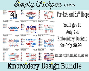 Embroidery Designs - July 4th Embroidery Design Collection I - All American - Patriotic - Appliqués - For 4x4 and 5x7 Hoops