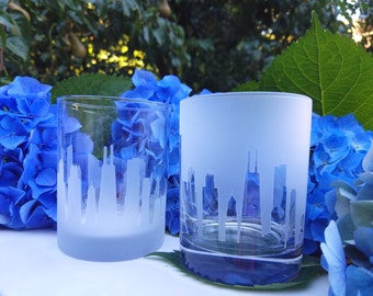 New York Skyline On-The-Rocks Glasses, (Set of 2),Old Fashioned,Gift for him,Beer lovers,House warming gift,New York