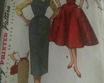 free shipping...1950s womens sewing pattern simplicity vintage antique