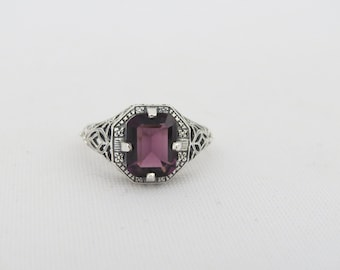 Vintage Sterling Silver Emerald cut Amethyst Filigree Ring Size 6.75