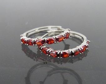 Vintage Jewelry Silver Tone Red Garnet Hoop Earrings