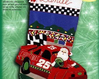 """Bucilla Christmas 500 ~ 18"""" Felt Christmas Stocking Kit #84071 Nascar Santa Race DIY"""