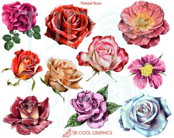 Painted Roses Digital Realistic Clip Art, PNG, Printable, Commercial, Flowers, Blossoms, Garden, Blooms, Romance, Love, Friendship