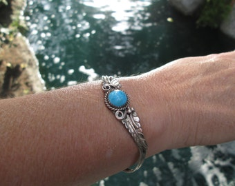 Vintage Navajo Jerry Cowboy Turquoise and Sterling Feathers Cuff Bracelet