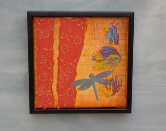 Dragonfly painting.Dragonfly Art.Wall Art.Mixed media on Canvas.Home decor.Art work original.