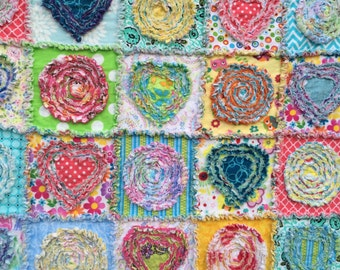 "Rag Quilt pattern instant download  PDF PATTERN-TUTORIAL ""Summer in the Park"" 42""x49"""