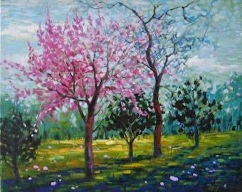 Bloom in pink, Original oil painting