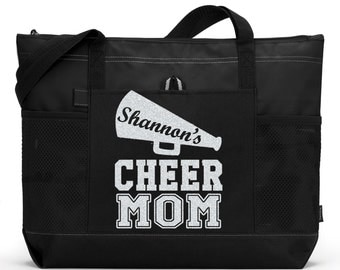 """Large 20"""" CHEER MOM Sports Bag with soft Microfiber or Glitter design.  Cheer leader name.  Cheerleader bags cheerleader mom cheerleader bag"""