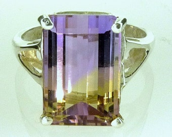 Natural Bolivian Mined Emerald-Cut Ametrine Ring 12x8MM 925 Sterling Silver 5.05CTS.