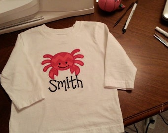 Appliqued and Personalized Crabby Shirt