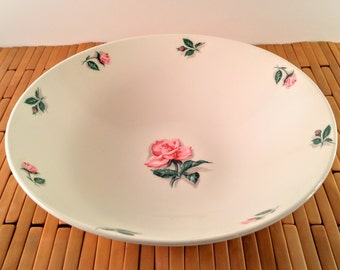 Vintage Edwin Knowles China Rose and Leaf 9 Inch Vegetable Serving Bowl. White with Pink Roses & Green Leaves. Country, Shabby Chic Kitchen.